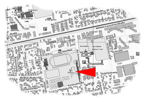 Bild Lageplan vom Freibad auf dem Griesheimer Stadtplan